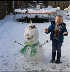 Following instructions to make a snowman.