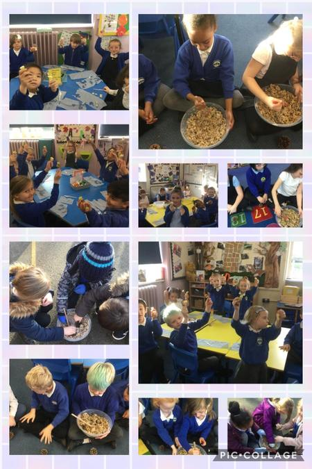 Making bird feeders, this was part of our experience day in our non-fiction English class.
