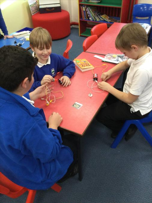 Doing circuits in electricity in Science. They loved getting hands on and experimenting!