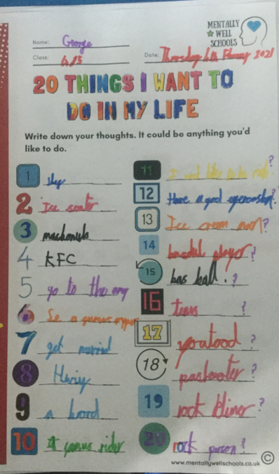 We created a 'bucket list' with all of the things we would like to do in life.