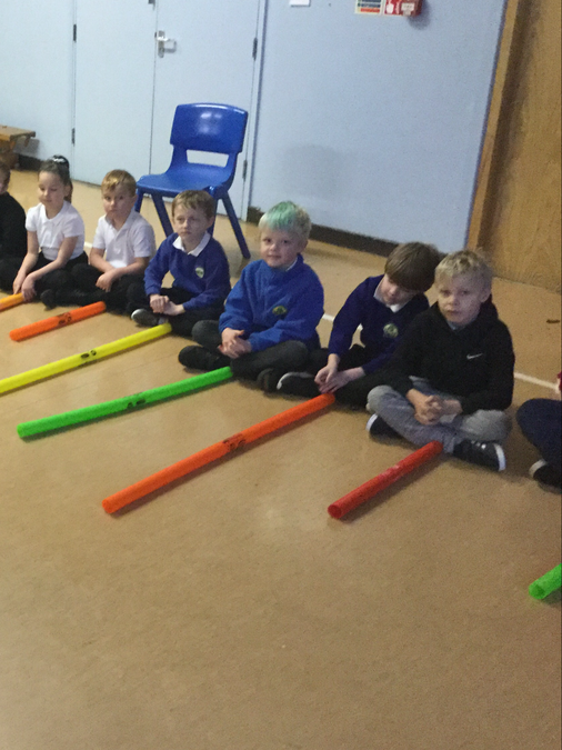 We used boomwackers in our music lesson to follow a tune and produce a song