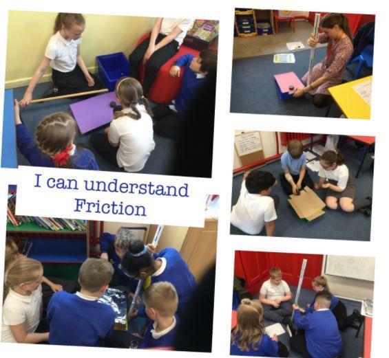 Science experiment - looking at friction and different surfaces/materials.