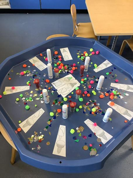 This week to children have been making ice creams using loose parts.