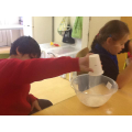 Measuring ingredients for the yummy cakes!