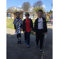 Pupils walk the 100 laps for the challenge