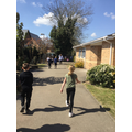 The weather was kind as the pupils completed the challenge!