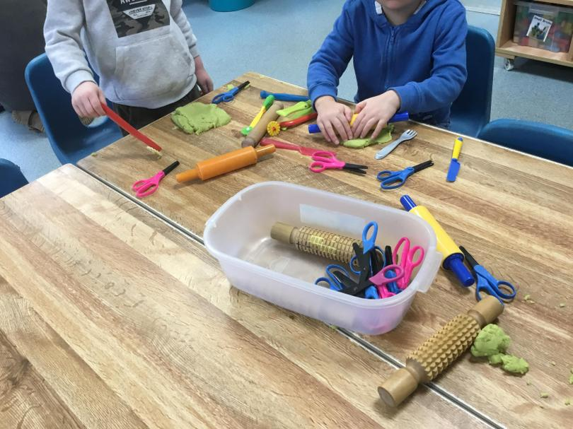 15. There is always play dough available for us too - it's great for our finger strength.