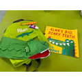 Alan the Alligator with his new rucksack.