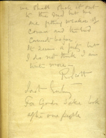 A page from Captain Scott's diary