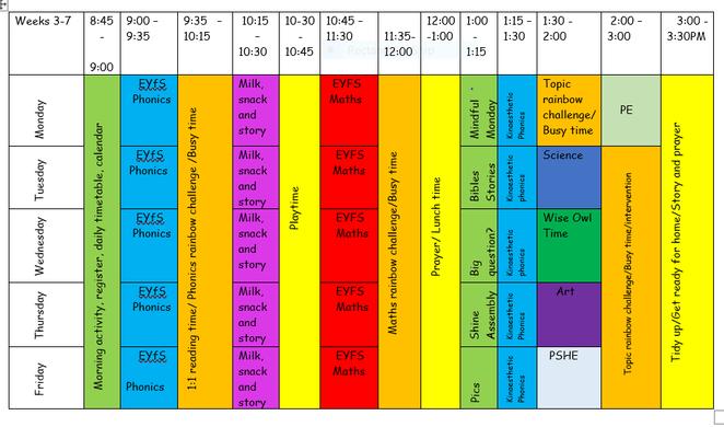 Autumn term 1 timetable