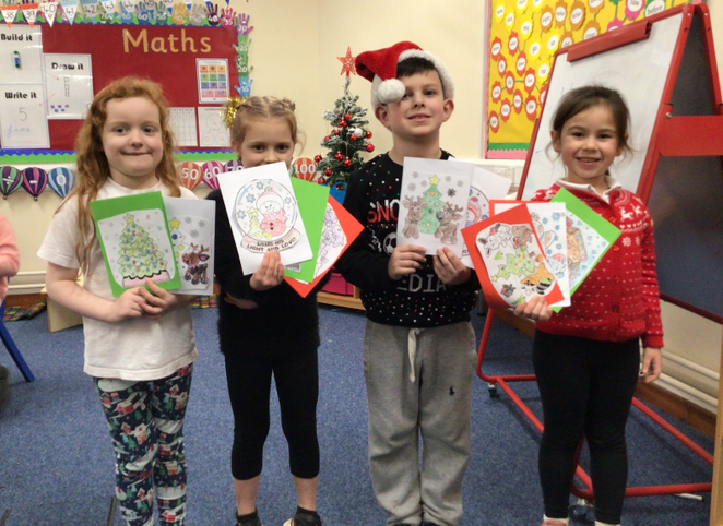 We have been making christmas cards for patients in Grantham Hospital.