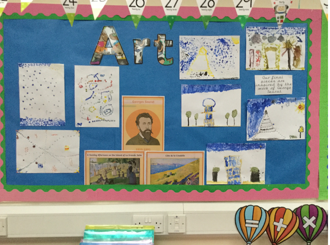 The childrens fantastic pointillism creations.