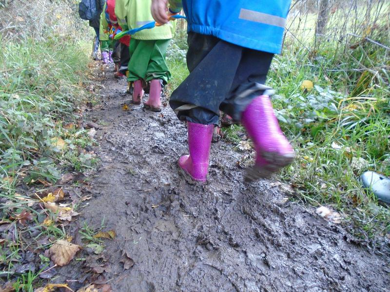 Loving the mud on our walk to Forest School!