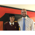 Kavish with Mr Powell, sharing in the proud moment