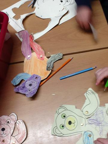 Making our own bears & learning to use split pins!