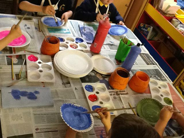 Painting sea creatures to go in Billy's Bucket