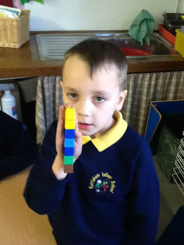 How many cubes is the length of my hand?