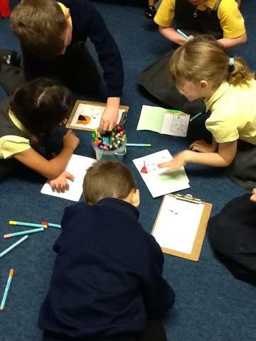 Writing, colouring & drawing together