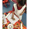 Designing a unique gingerbread person.