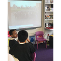 Y1 on the screen in the Y5 classroom
