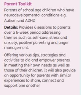 Parent Toolkit for parents of children with autism and ADHD