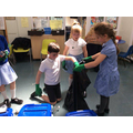 Year 2 sorting materials from the rubbish!