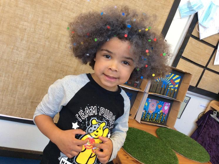 We raised money for Children in Need by wearing something spotty! Check out Joshua's hair!