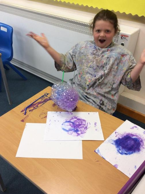 So much fun doing bubble painting