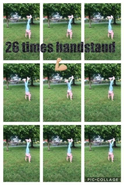 Dominika completed handstands.