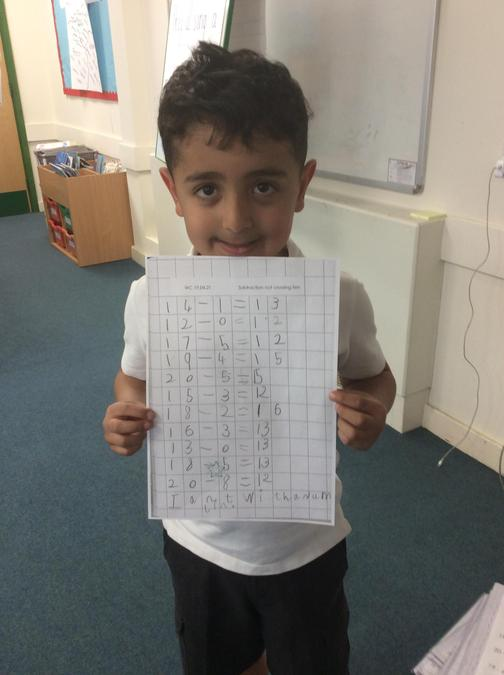 Mete for his amazing independent work in Maths this week!