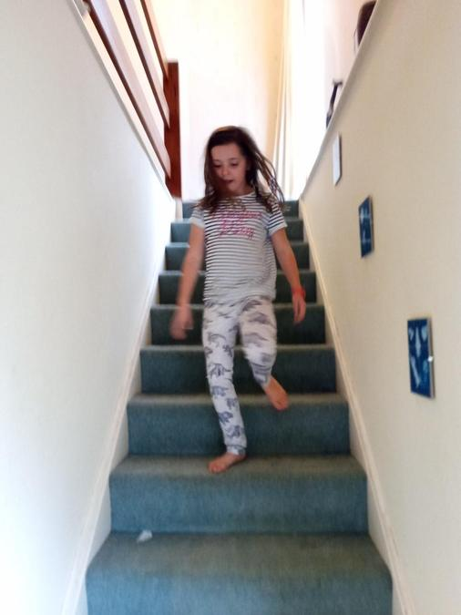 Annabelle went up and down the stairs!
