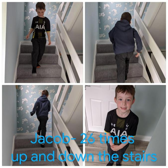 Jacob went up and down the stairs!