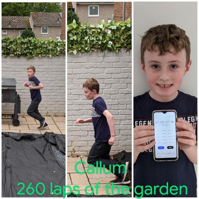 Callum ran laps of the garden.