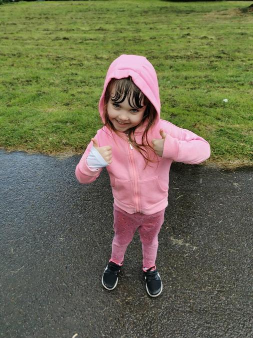 Eleanor got wet on her walk!