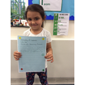 For a fantastic attitude towards her learning