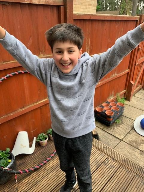 Aidan completed laps of the garden!