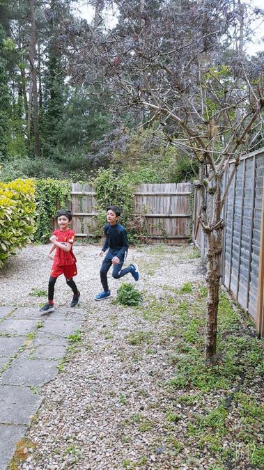 Ehab and Wahaj ran round the garden!