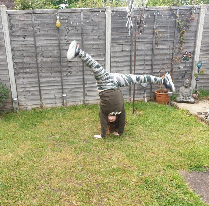 Scarlett did cartwheels.