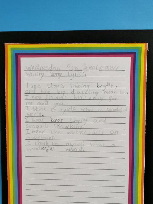 An example of writing song lyrics