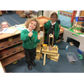 Building towers in the construction area