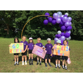 Year 1 pupils as North Worcester Primary Academycheering Reception class