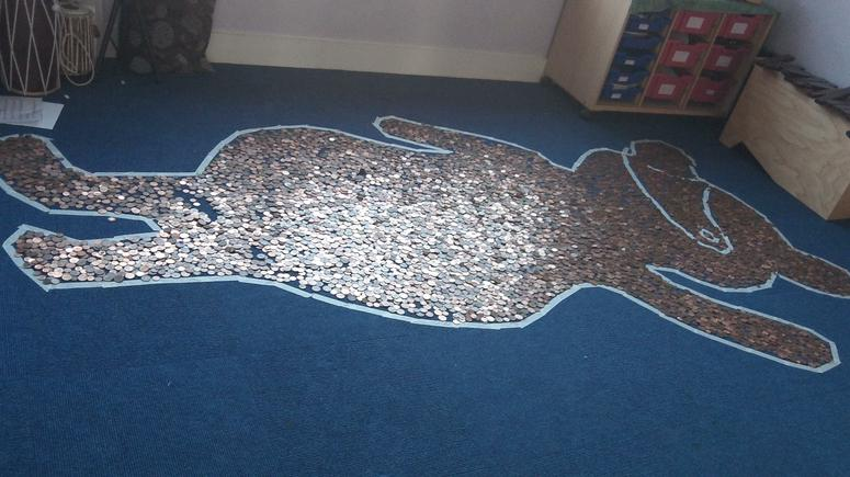 We filled Pudsey with 1p and 2p coins.