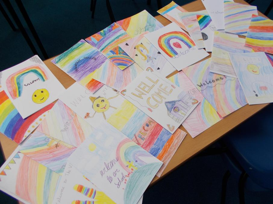 Making cards to bring joy to new pupils - PSHCE