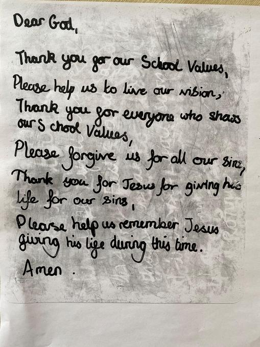 Spontaneous Prayer written by a pupil at Easter