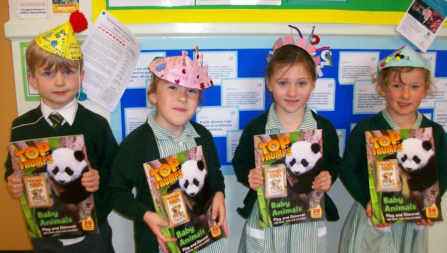 The prize winners chosen by Mrs Clarke