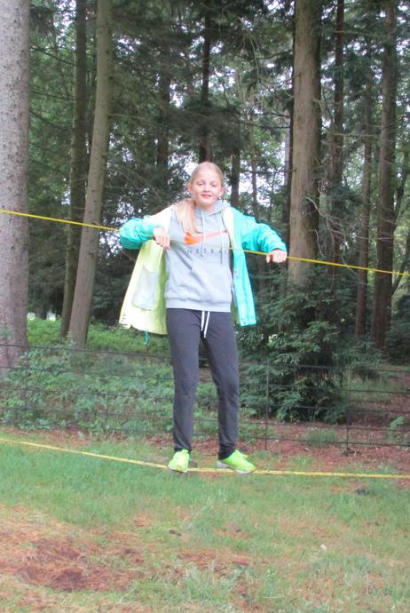It took some balancing to move along the slackline.