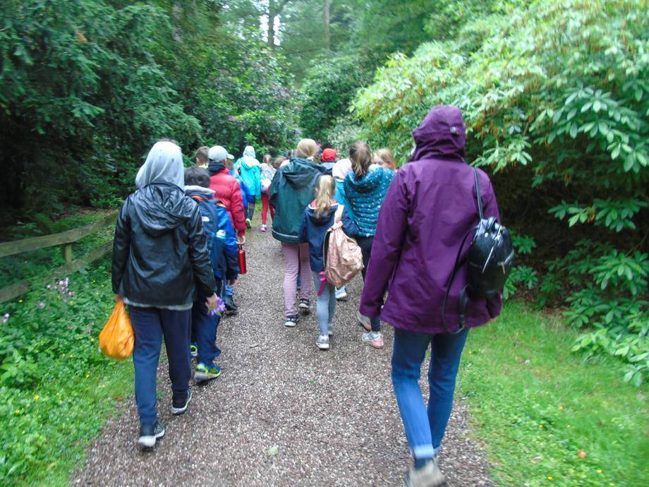 Walking to our first activity.