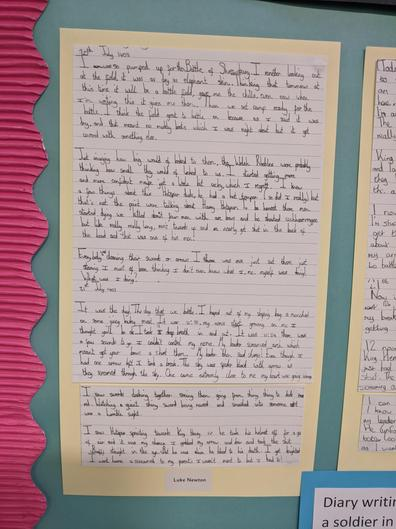 Inspired by our visit to the Battlefield, children wrote diary entries.