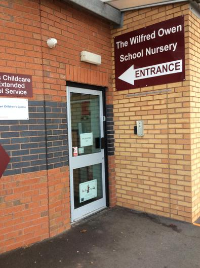 To the right of the buggy store you will see the Nursery entrance (Haughmond class).