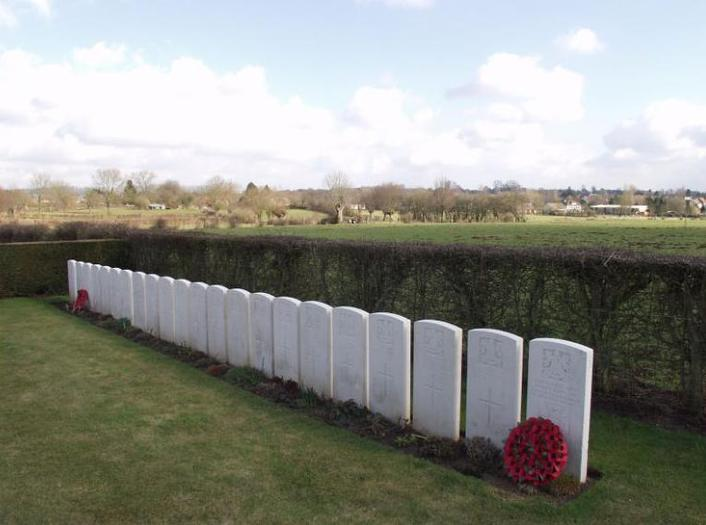 Ors Cemetery - Wilfred Owen's grave is third from the left